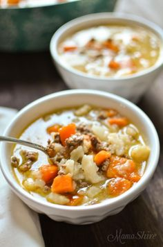 Warm and comforting Beef & Sweet Potato soup is full of flavor, low fat, and has good carbs from the sweet potatoes! Perfect E soup for Trim Healthy Mamas.