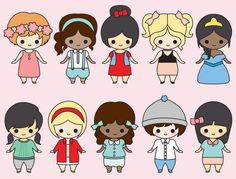 Premium Vector Clipart Kawaii Girls by LookLookPrettyPaper