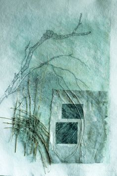 Green after rain by Inga Hunter. Drawing on paper, paint, etched handmade paper embedded with sticks, grid, threads