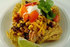 Slow Cooker Southwest Chicken Stacks Recipe Main Dishes with frozen corn, black beans, boneless skinless chicken breasts, salsa