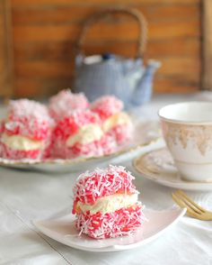 Lamingtons - raspberry jelly and cream