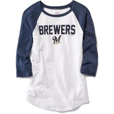 Old Navy MLB Team Tee ($29) ❤ liked on Polyvore featuring tops, t-shirts, white tee, white jersey, 3/4 sleeve tee, white t shirt e raglan tee
