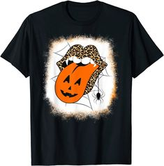 Leopard Lips Shirt Halloween Lips with Vampire teeth and a Pumpkin Tongue is a spooky bleached orange background. Makes a great fast and easy Halloween costume.