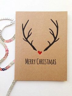 Christmas Card Sets – Rustic Christmas Card – Christmas Cards – Holiday Cards – Reindeer Antlers – Merry Christmas - All About Events Christmas Cards Drawing, Christmas Card Crafts, Homemade Christmas Cards, Christmas Gift Wrapping, Handmade Christmas, Rustic Christmas, Christmas Christmas, Diy Christmas Cards For Boyfriend, Etsy Christmas Cards