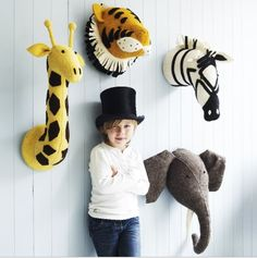 stuffed toys on sale at reasonable prices, buy Mini Animal Head Stuffed Toy Flamingo Giraffe Fox Zebra Elephant Toy Kids Bedroom Decoration Wall Hang Birthday Gift Stuffed Toy from mobile site on Aliexpress Now! Safari Animals, Plush Animals, Felt Animals, Stuffed Animals, Stuffed Toys, Room Ideias, Fiona Walker, Kids Collection, Trendy Collection