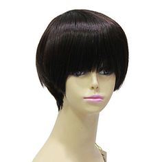 Capless High Quality Synthetic Janpanese Kanekalon Short Black Straight Hair Wig