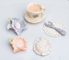 Fondant Tea Party toppers Set of 5 by SeasonablyAdorned on Etsy
