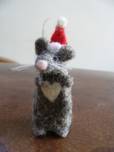 little needle felted santa Christmas mouse, by buttons and birds on Folksy, £12.00