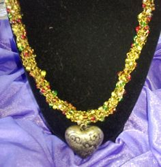Incredible Goldtoned Wire Crochet Necklace with by artistrcool, $17.00