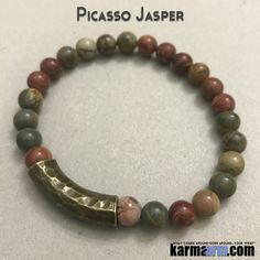 MANTRA: I will stay patient and trust the journey. - 8mm Natural Picasso Jasper Gemstones - Bronze Hammered Bar - Commercial Strength, Latex-Free Elastic Band - Artisan Crafted in our West Hollywood S