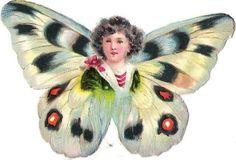 Oblaten Glanzbild scrap die cut chromo Schmetterling Kind child Elfe butterfly