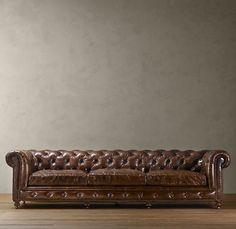 Kensington Collection tufted leather sofa