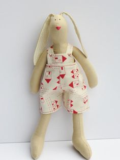 Stuffed bunny rabbit hare fabric bunny plush by HappyDollsByLesya