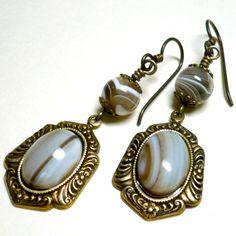 Victorian Style Brown Sardonyx and Brass with Niobium Dangle Earrings | KatsAllThat - Jewelry on ArtFire