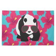 Funny Panda Bear Beach Bum Cool Sunglasses Tropics Towel #kitchentowels #kitchen #towels #gifts #zazzle #MadeintheUSA #prettypatterngifts www.PrettyPatternGifts.com
