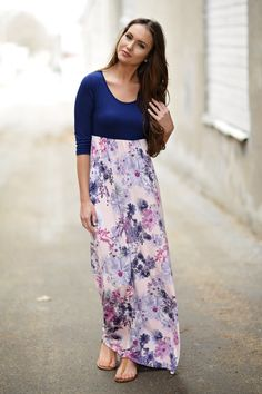 Purple & Floral 3/4 Sleeve Dress
