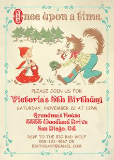 Charming Little Red Riding Hood Party Invitations by McBooboos