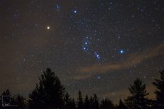 The Orion constellation is one of my most favorite constellations to photograph.   Orion rises after The Pleiades star cluster early in the morning in the middle of September and remains clearly visible in the night sky through February. Betelgeuse is the star that makes up Orion's right shoulder (the red star).  It is also one of the largest stars known in our universe.    To see the full caption check out my facebook page at www.facebook.com/CMGFoto