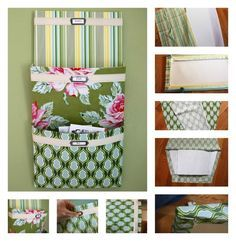 Mail Organizer DIY: Cover cereal boxes with pretty fabrics, add a strip of cotton twill tape and labels, and stack them on the wall for a nifty organizer. The full tutorial is here.