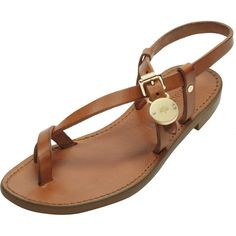 Bayswater Flat Sandal Oak Dip Dyed Leather found on Polyvore