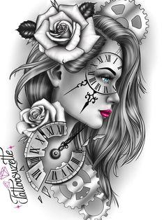 Tattoo Girls, Skull Girl Tattoo, Girl Face Tattoo, Grey Tattoo, Girl Tattoos, Clock Tattoo Design, Tattoo Design Drawings, Tattoo Sleeve Designs, Clock Tattoo Sleeve