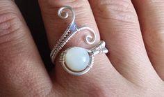 Moonstone Tanzanite Sterling Silver Ring/ Moonstone Tanzanite Elven Spiral Ring/ Made to Order Spiral Wire Wrapped Ring/ Silver Spiral Ring by PowerstoneJewelry1 on Etsy
