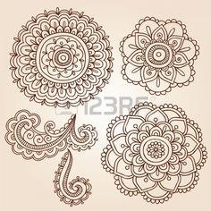 Henna Mehndi Flower Doodles Abstract Floral Paisley Design Elements Vector Illustration Stock Vector