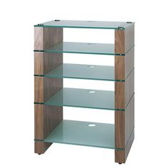 The five shelf STAX 500 HiFi Stand in Natural Walnut with a choice of Black or Etched glass shelves. Kitchen Shelves, Glass Shelves, Display Shelves, Display Cabinets, Hifi Stand, Glass Etching, Etched Glass, Black Glass, Contemporary Furniture