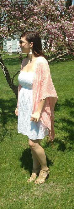 Style by Melissa Ann // White summer dress, Pink kimono, Nude leather heels, White tassel earrings