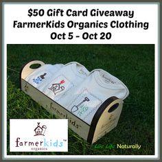 Enter the  $50 FarmerKids Organics Gift Card Giveaway. Ends 10/20
