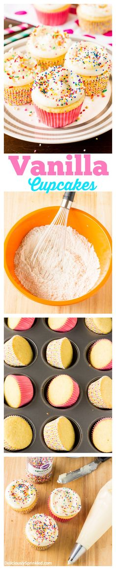 These are my FAVORITE vanilla cupcakes! They are so easy to make. These are my FAVORITE vanilla cupcakes! They are so easy to make and are always a huge hit at a party! No Bake Desserts, Just Desserts, Delicious Desserts, Dessert Recipes, Yummy Food, Vanilla Cupcake Recipes, Simple Cupcake Recipe, Cupcake Recipes Easy, Easy Vanilla Cupcakes