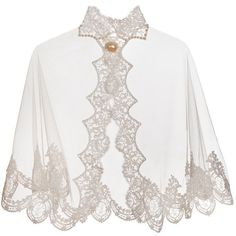 Laura ethereal Alencon lace and tulle bridal cape pearl embroidered ❤ liked on Polyvore featuring outerwear, lace cape, cape coat and bridal cape