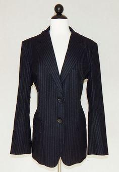 MAX MARA Black Pinstripe Wool Angora Blend Business Suit Jacket Blazer - Size 14 #MaxMara #Blazer