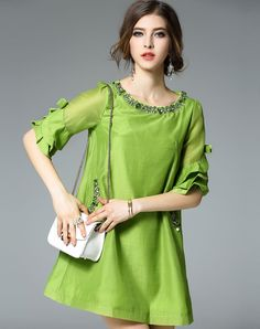 #VIPme Green Ruffle Sleeve Beaded Neck A Line Mini Shift Mini Dress ❤️ Get more outfit ideas and style inspiration from fashion designers at VIPme.com.