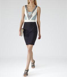 Womens Black/white/blue Smoke Embellished-front Dress - Reiss Liana