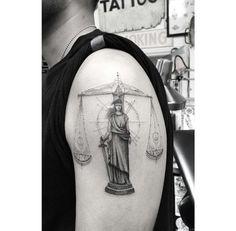 Lady Justice by dr_woo_ssc Dr Woo, Wing Tattoo Men, Cross Tattoo For Men, Future Tattoos, Tattoos For Guys, Law Tattoo, Libra Sign Tattoos, Justice Tattoo, Patriotic Tattoos