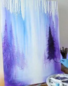 Canvas Painting Tutorials, Diy Canvas Art, Acrylic Painting Canvas, Acrylic Art, Wine And Paint Night, Art Drawings, Modern Art Paintings, Art Tutorials, Watercolor Art