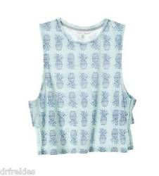 Victoria's Secret Vintage Style Blue Pineapple Print Open-side Tank Size Medium
