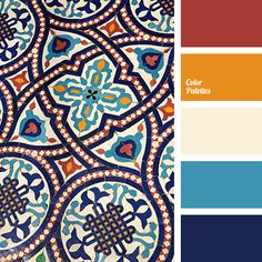 Red, orange, cream, blue and dark blue all work together to create a contrasting color palette. It can be used for decoration or to create the elements of.