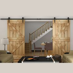 Black Country American Style Arrow Barn Wood Steel Sliding Double Door Hardware Closet Set 8FT/10FT/12FT/13FT/15FT(China (Mainland))