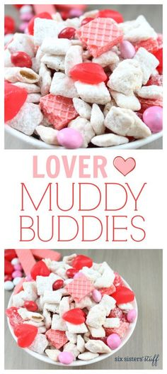 Lover Muddy Buddies recipe from SixSistersStuff.com | Make this fun Valentines Day snack your kids will love! | Valentines Day Food | Snack Ideas