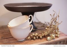 Handmade Cake Stand, Gold, White & Pink Porcelain Tea Cups & Gold Deer - KAMERS 2013 on The Pretty Blog - Photo by Charl du Preez
