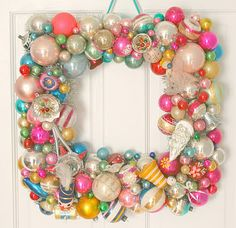 square holiday wreath with vintage ornaments