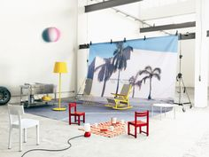pipe and beach ball and sunshine / STUDIO PEPE EDITORIAL SET DESIGN FOR ELLE DECOR