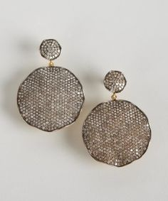 Socheec : silver and diamond scallop disc earrings : style # 320605401