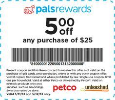 PETCO: $5 off $25 Printable Coupon