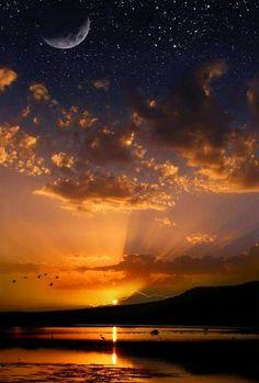 Ay,güneş ve yıldızlar aynı karede.İnanılmaz....