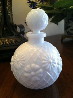Milk Glass Perfume Bottle Cosmos Pattern by FrannieBee on Etsy, $32.00