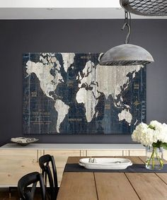 Old World Map Wall Art In Blue Walls Front Rooms And Room Ideas - Old world map wall art in blue