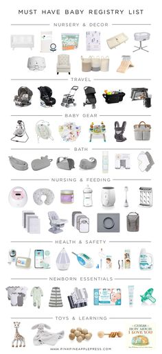 Must Have Baby Registry List   Pink Pineapple   Baby Best Baby Registry, Baby Registry Essentials, Baby Registry Checklist, Baby Registry Must Haves, Baby Registry Items, Newborn Essentials List, Baby Registry Amazon, Baby Checklist Newborn, New Baby Checklist